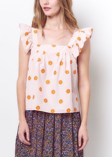 Mabel and Moss Corey Lynn Calter Margella Ruffle Floral Top - pink/orange