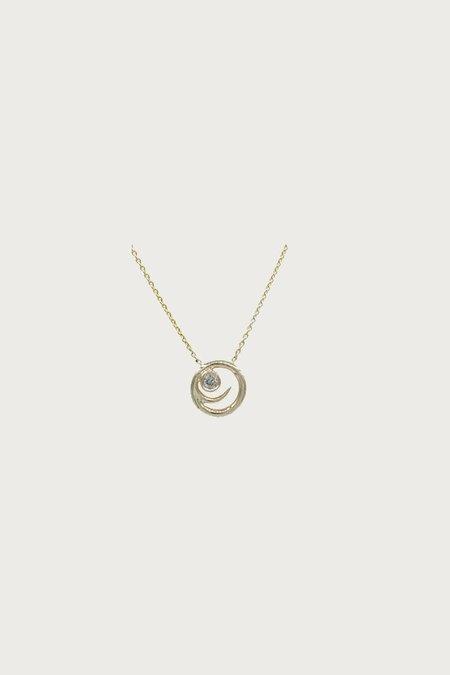 Xiao Wang Dot Dot Side Smile Face Necklace - Gray Diamond/Gold