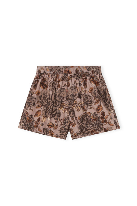 Ganni Elastic Waist Floral Shorts - Fossil
