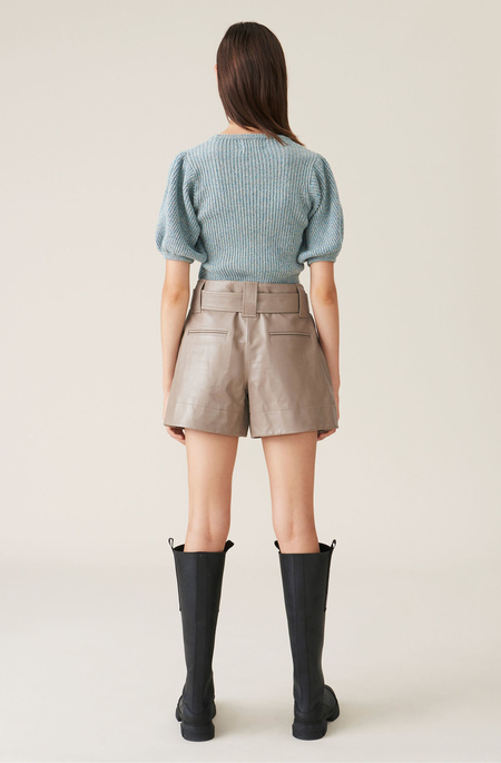 Ganni Belted Leather Shorts - Tan