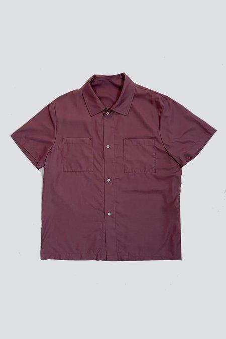 Vintage Rayon Camp Shirt - Aubergine