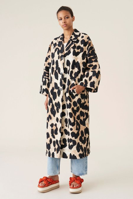 Ganni Linen Canvas Coat - Leopard
