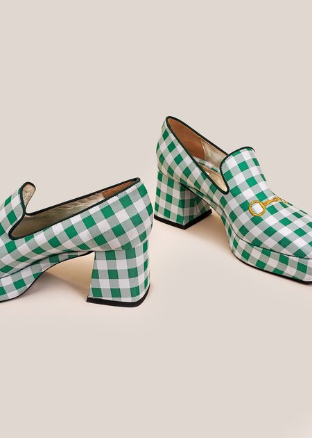 Suzanne Rae Vichy Platform Loafer - Green/White Gingham