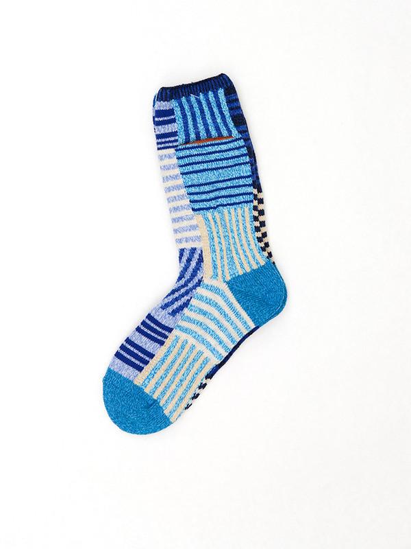 Kapital Thread Border Patchwork Socks, Blue