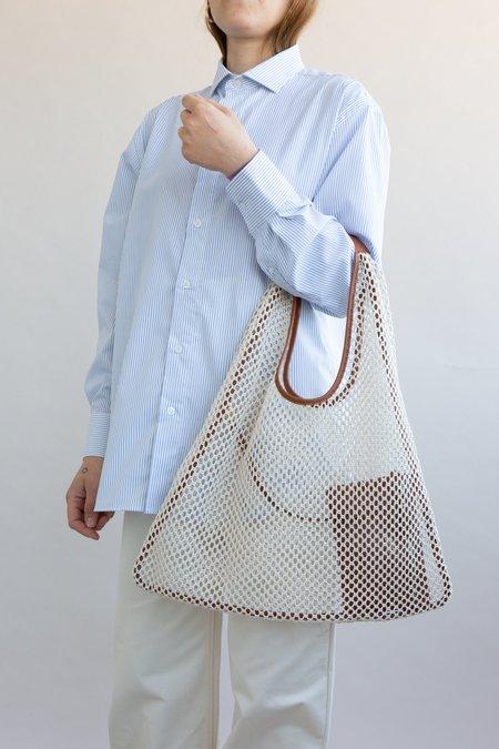 WOLF & GYPSY VINTAGE Handmade Mesh Triangle Shoulder Bag - Ecru