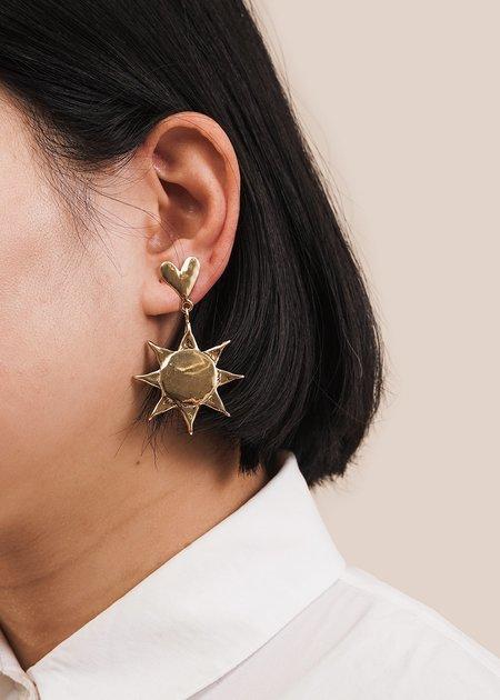 Luiny Sun Earrings - Brass