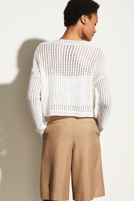 Vince Crochet L/S Crew top - Optic White