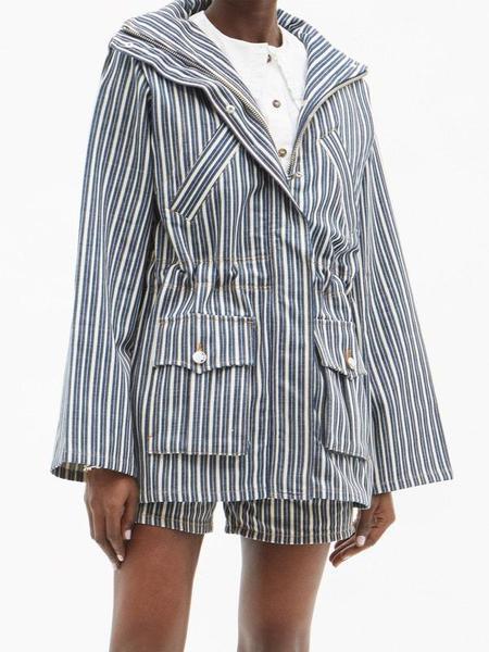 Ganni Mixed Stripe Denim Jacket - Dark Indigo