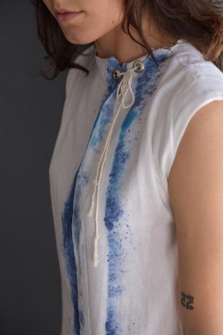 Hazel Brown Hand Painted Linen Shift Dress