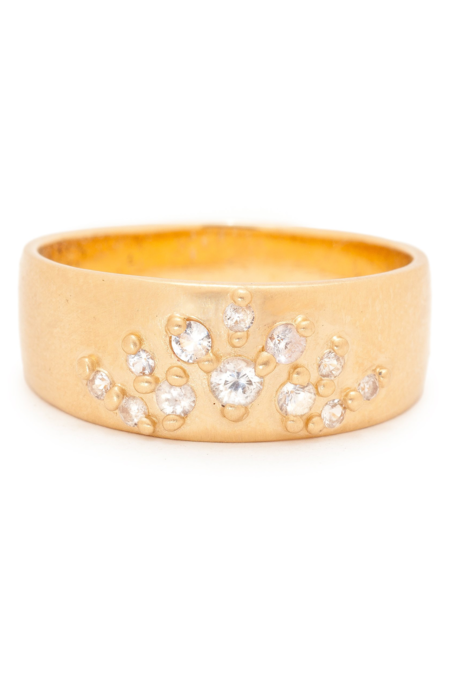 Valley Rose Athena Cigar Band - Gold/White Sapphire