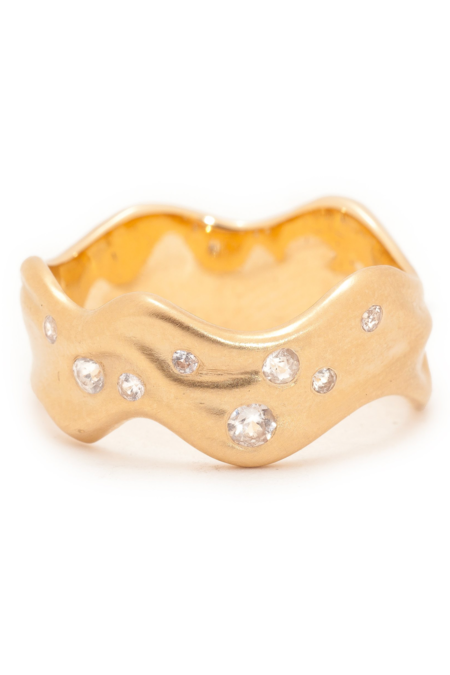 Valley Rose Wave Band - Gold/White Sapphire