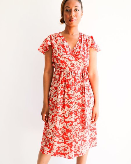 [Pre-loved] Rebecca Taylor Floral Print Wrap Dress - Red Orange/White