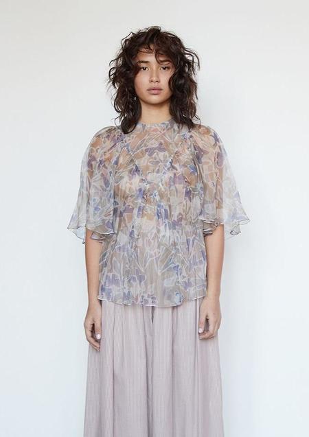 Christine Alcalay Maya Silk Organza Blouse - Stoneflower