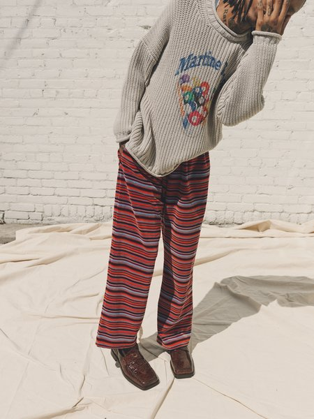 Martine Rose Stripe Velvet Wide Leg Sweat Pant - Blue/Orange