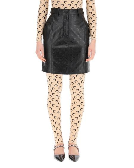 Marine Serre Moon Print Leather Mini Skirt