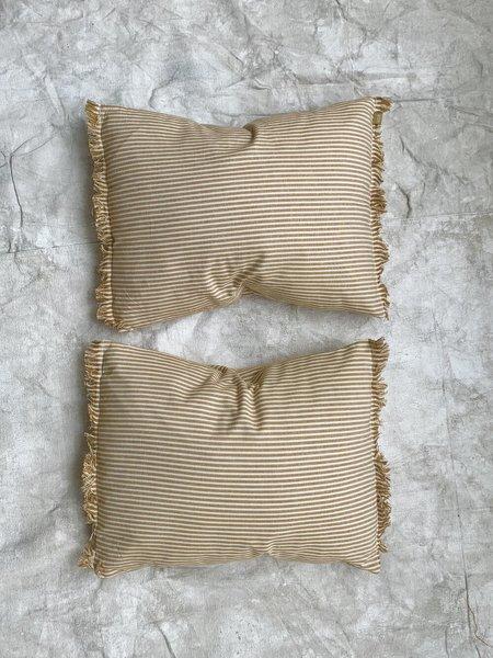 Cuttalossa & Co. Cotton Fringe Pillow - Gold Stripe