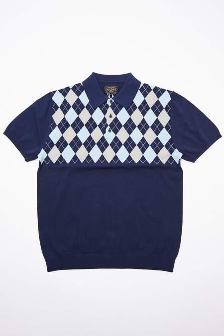Beams Plus Knit Polo - Argyle/Navy