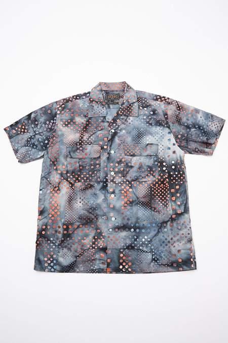 Beams Plus Short Sleeve Open Collar Batik Print - BLACK