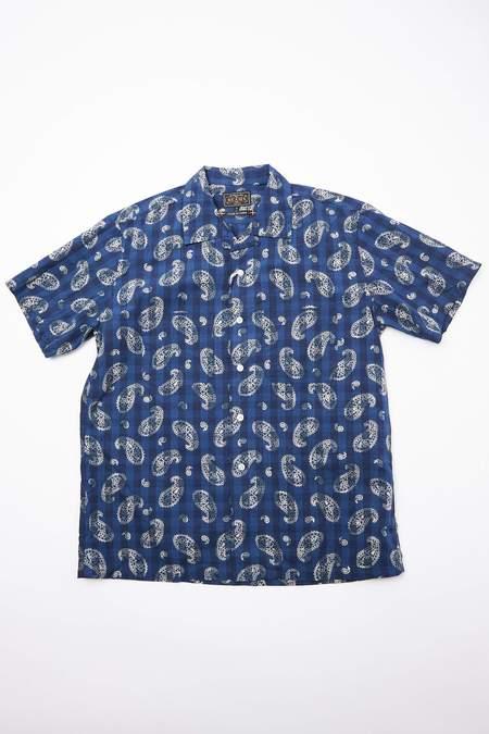 Beams Plus Short Sleeve Open Collar Indigo Check Discharge Print Paisley Shirt - Indigo