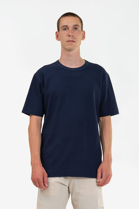 Norse Projects Johannes compact waffle ss top - navy