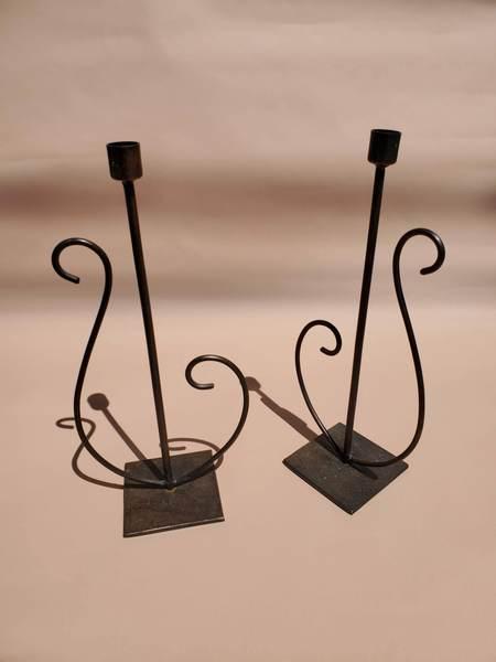 Vintage Wrought Iron Candlesticks - black
