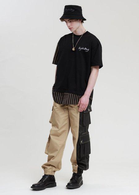 Feng Chen Wang Stripe Paneled T-Shirt - black