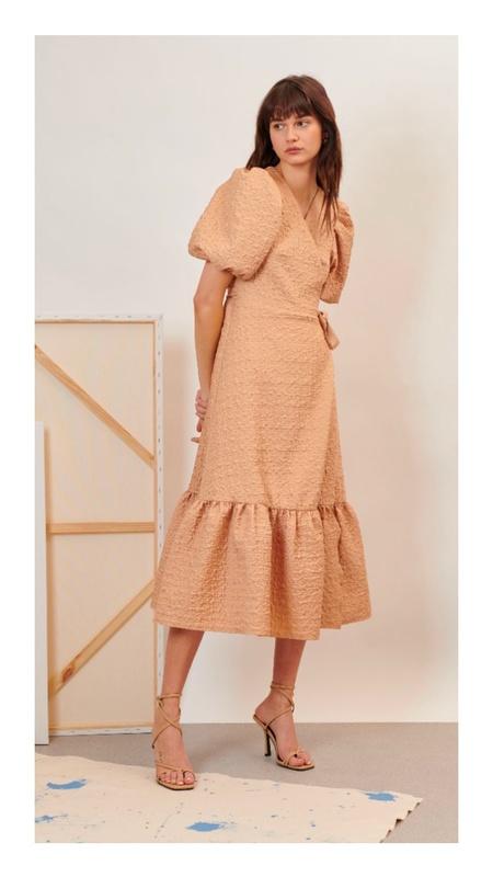 Ghospell Creation Midi Wrap Dress - Copper