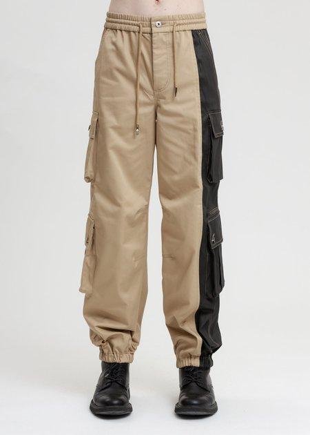 Feng Chen Wang Cotton Twill Cargo Pants - Khaki/Black