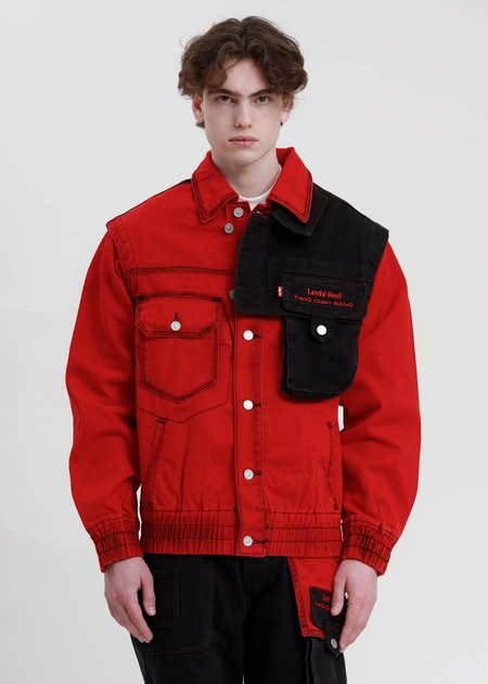 Feng Chen Wang Levi's Edition Twill Oversized Jacket - Red/Black