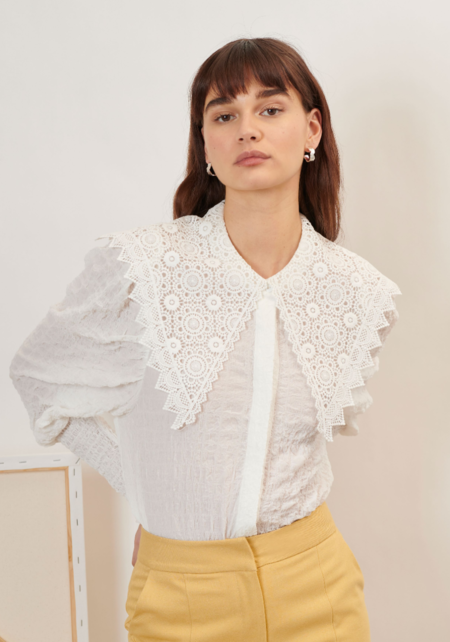 Ghospell Archive Lace Collar Shirt - Ivory