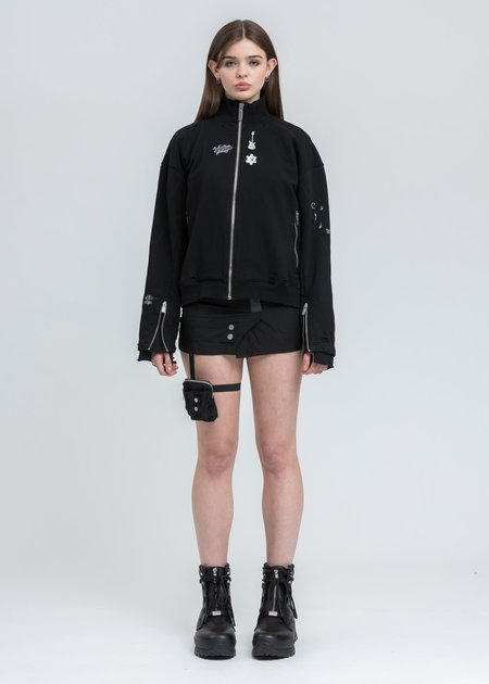 C2H4 Distressed Zip Up Short Jacket - Black