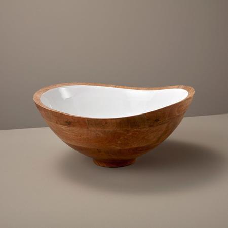 Be Home Enamel Large Bowl - Mango Wood/White