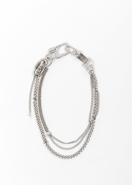 C2H4 Multi Combined Chain Keychain - Silver