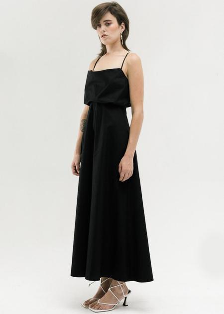Toit Volant High Waist Cowl Slip Dress - Black