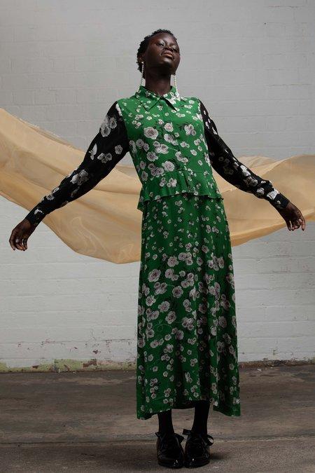SALASAI FLORA IN CHAINS DRESS - GREENERY/BLACK ROSE
