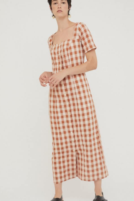 Rita Row Maria Dress - Brown Check