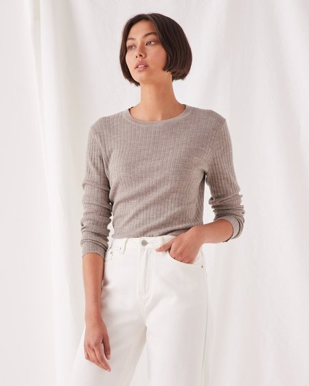 Assembly Label Ella Long Sleeve Knit sweater - Washed Khaki Marle