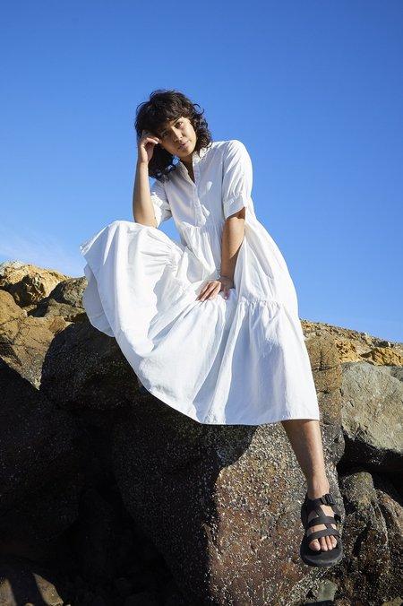 Ali Golden Raglan Tiered Dress - Bone