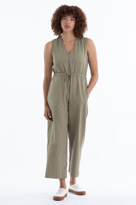Ali Golden Slit-Back Jumpsuit - Khaki