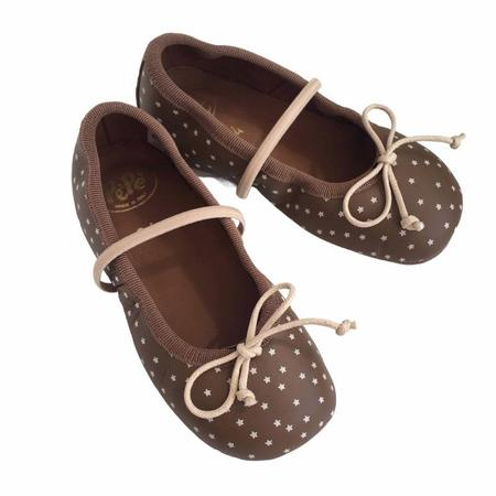 kids pèpè silver stars ballet flats - taupe