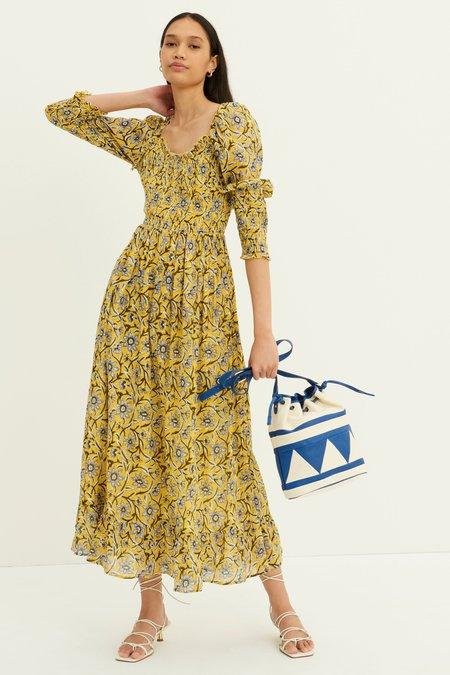 Antik Batik Maria Ruched Cotton Dress - Yellow Batik