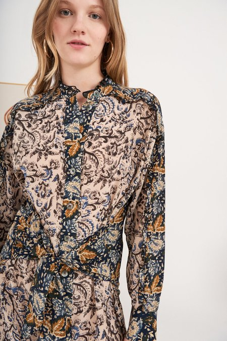Antik Batik Renald Dress - Beige Silk Multi