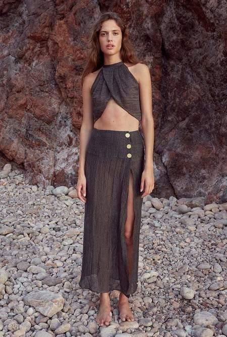 Le Kasha Haifa Linen Skirt - Charcoal