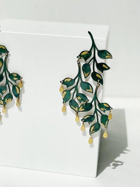 We Dream in Colour Emerald Ophelia Earrings - Brass