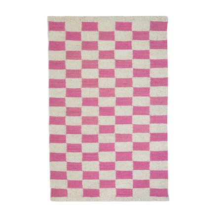 Archive New York Zapotec Checkered Rug - Pink/Ivory