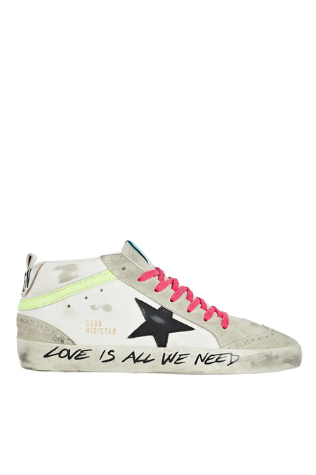 Golden Goose Mid Star Sneaker - White/Ice/Black/Yellow Florescent