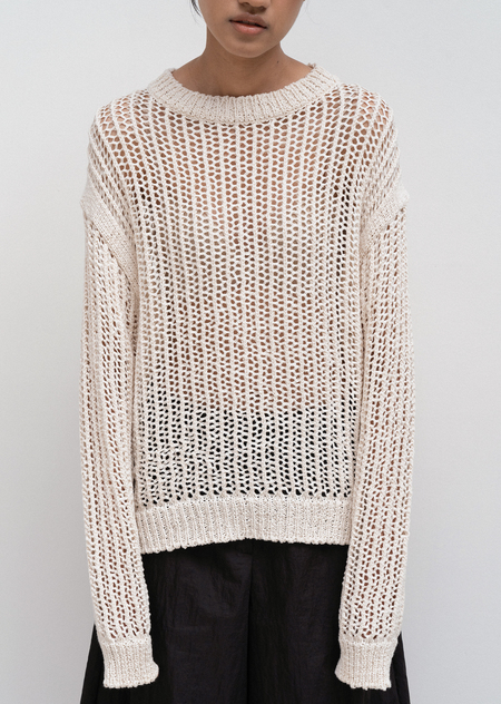 AMOMENTO Cotton Crochet Pullover - Ivory