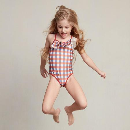 kids Oeuf NYC Baby And Child Rust Gingham Swimsuit - Brown