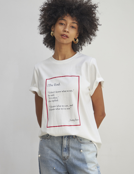 Maison De Ines THE END MOOD T-SHIRT - white