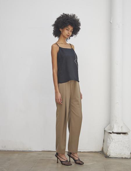 Maison De Ines SUMMER STRAIGHT SLACKS PANTS - Khaki Beige